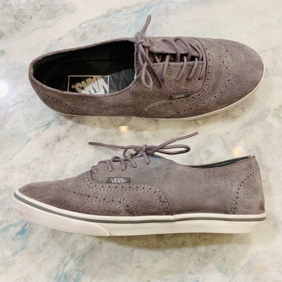 Vans Gray Leather Wingtip Lace Up Skater Sneakers